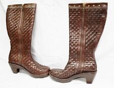7/ 38 BORN Hoxsie Woven Leather Clog Boots Knee High