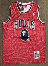 Michael Jordan #23 Red Chicago Bulls 96-97 Rare Hardwood Classics Bape Jersey L