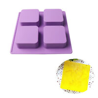 1PC 3D 4-Cavity Silicone Square Soap Ice Mold Cake Mould Candy Chocolate DIY