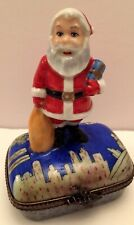 New ListingLimoges Peint Main Santa In Ny Numbered & Signed Enamel Trinket Box Xmas