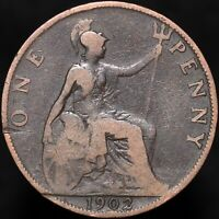 1902 | Edward VII 'Low Tide' One Penny | Bronze | Coins | KM Coins