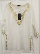 Anna Scholz @ Simply Be Cotton Gold Sequin White Tunic Kaftan Beach Cover 14