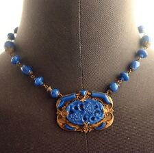 Vintage ART DECO Lapis Blue Czech Glass Necklace