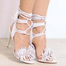 Suede Party Patternless Lace-up Heels for Women