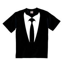 Simpatica t-shirt bimbo con stampa colletto e cravatta finta, divertente bambino