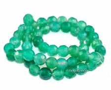 """GREEN APPLE AGATE GEMSTONE FACETED ROUND 8MM LOOSE BEADS 15.5"""""""