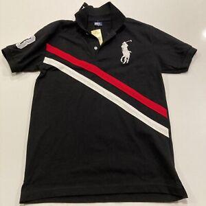 "Polo by Ralph Lauren 0491384 Black Medium Polo Shirt Big Pony Logo ""3"" Sleeve"