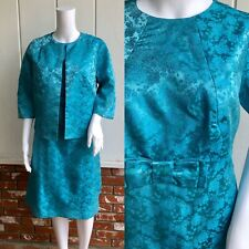 VTG 50s 60s Turquoise Chinese Satin Floral Brocade Bow Cocktail Dress & Jacket L