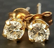 Simple Childs 14k Yellow Gold 2.9mm Round Cubic CZ Stud Earrings Estate Cute
