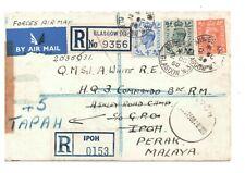 MALAYA-REG COVER TO ROYAL MARINES CAMP, IPOH, REDIRECTED TO TAPAH 10.10.1950