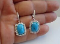 925 STERLING SILVER SQUARE DANGLING EARRINGS W/ TURQUOISE & LAB DIAMOND ACCENTS