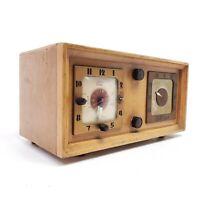 Vintage Vacuum Tube Radio Clock Telechron Wooden Cabinet Tabletop MCM Works