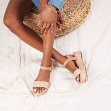 IT GIRL Nude Nappa & Raffia Flatform Sandal