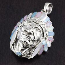 Mens 925 Sterling Silver Big Large Apache Head Chief Multicolor 33mm Pendant