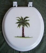 Hand Painted Palm Tree Toilet Seat/Round Standard /By Mb