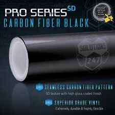 5D Real High Glossy Black Carbon Fiber Vinyl Wrap Roll - Bubble Free Air Release