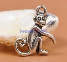 50pcs Tibetan Silver Charm Monkey Pendant Accessories 17X13mm F3311