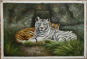 """Fine art oil painting on canvas the white tiger 100% hand-painted 24""""x36"""""""