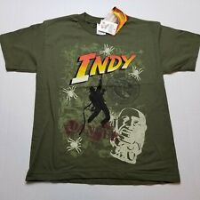 Indiana Jones T-Shirt Boys M Indy Tiki Olive Green Youth Giant Alstyle NWT D76
