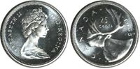 Canada 1965 Silver 25 Cents Choice BU UNC MS-63 Quarter!!