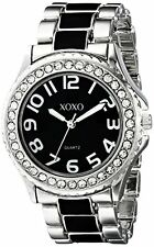 XOXO Womens Silver-Tone W/ Black Epoxy Analog Bracelet Watch