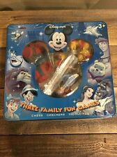 Disney Store Three  Family Fun Games Chess Checkers Tic Tac Toe In Tin Complete