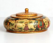 Antique Look Decorative Round Shape Mughal Painted Wood + Camel Bone Opium Box