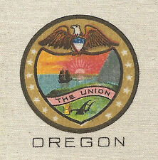 Vintage tobacco cigarette silk - use in crazy quilt - Us State Seal - Oregon