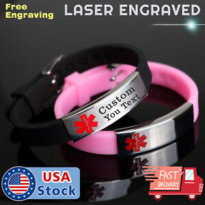 Free Engraving Medical Alert ID Women Men  Bracelet Black Silicone Wristband
