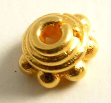 50 SOLID BALI VERMEIL 24K GOLD PLATED BEADS 5MM