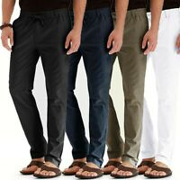 Men's Casual Breathable Loose Long Pants Elastic Waist Straight Trousers USA