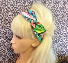 Tropical Flamingo Retro Impresión de Algodón Bendy Wire Hair Head Band Vintage Pin Up