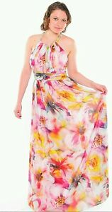 CACHE NWT Sexy Watercolor Print Chiffon Formal Gown PROM  Dress  6  8 M  10 L