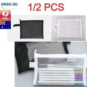1/2 Pcs Clear Mesh Pencil Makeup Cosmetic Case Bag Storage Stationery Document