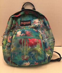 Jansport Backpack With Front Pocket Mini Palm Tree Greens, Pinks, Creams