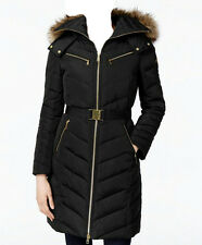 NWT MICHAEL Michael Kors Faux Fur Hood Belted Down Puffer Coat  Black (M)