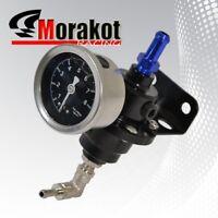 Turbo Adjustable 1-140 Psi Fuel Pressure Regulator Kit With Liquid Gauge Black