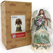 JIM SHORE Christmas Joy is Ever Green Figurine Angel Wreath Mountains BOX
