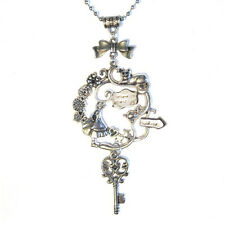 Lewis Caroll's Alice in Wonderland Cluster Silver Plated Charm Pendant Necklace