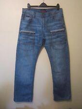 Pierre Cardin:Mens Stonewashed Cargo Straight Leg Jeans-Size W36,L33-Free P&P