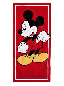 Kids Disney Mickey Mouse Beach Towel 58x28 Red Pool Bath