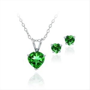 Sterling Silver Simulated Emerald Heart Solitaire Necklace & Stud Earrings Set