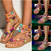 Womens New Summer Ladies Floral Colored Bohemian Folk Style Flat Sandals Shoes