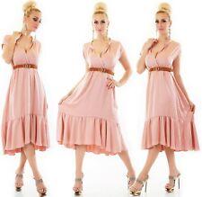 ITALY Damen langes Kleid mit breiten Volant V-Ausschnitt inkl. Gürtel 36-40