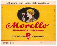 LICHTENBERG  VEB Kelterei DDR Morelllo Etikett Mehrfrucht-Tischwein  x0323
