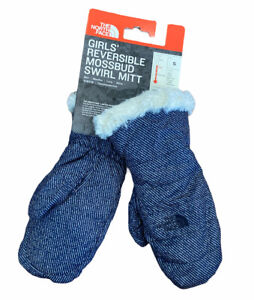 THE NORTH FACE GIRLS REVERSIBLE MOSSBUD SWIRL MITTS YOUTH GLOVES MITTENS Size S