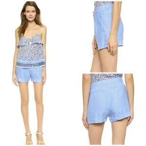 Joie Sunset Blue Crisp Weave 100% Linen Barbella Shorts Pleats Pockets Sz 6