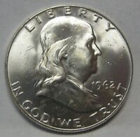 Beautiful CH BU 1962-D Silver Ben Franklin Half Dollar Flashy Coin DUTCH AUCTION