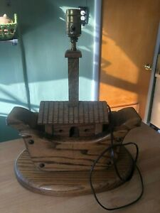 Wooden Noah's Ark Lamp Amish Made Nursery Living Room Bedroom