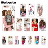 Family Phone Case For iPhone Mom And Baby Cover Mother Daughter Son Happy Family